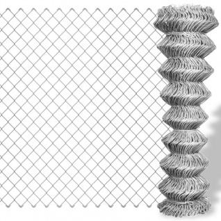 vidaXL Maschendrahtzaun Verzinkter Stahl 25×0, 8 m Silbern