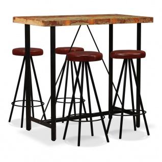 vidaXL Bar-Set 5-tlg. Massives Altholz und Echtleder