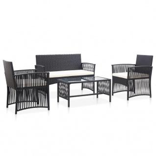vidaXL 4-tlg. Garten-Lounge-Set mit Auflage Poly Rattan Schwarz