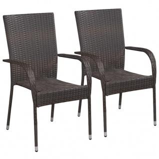 vidaXL Stapelbare Gartenstühle 2 Stk. Poly Rattan Braun