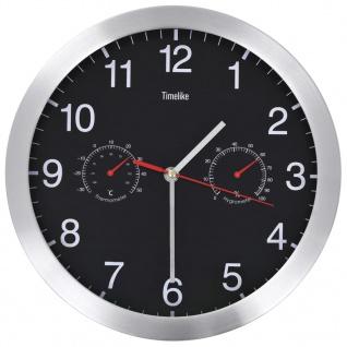 vidaXL Wanduhr mit Quarzwerk, Hygrometer und Thermometer 30 cm Schwarz