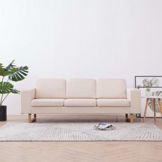 vidaXL 3-Sitzer-Sofa Stoff Cremeweiß