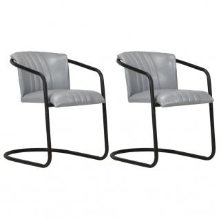 vidaXL Esszimmerstühle 2 Stk. Grau Echtleder