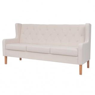 vidaXL Sofa-Set 2-tlg. Stoff Cremeweiß - Vorschau 3