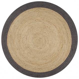 vidaXL Teppich Handgefertigt Jute mit Dunkelgrauem Rand 120 cm