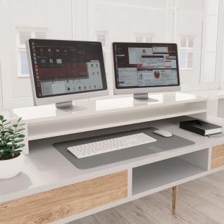 vidaXL Monitorständer Hochglanz-Weiß 100×24×13 cm Spanplatte