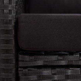 vidaXL 3-tlg. Garten-Lounge-Set mit Kissen Poly Rattan Schwarz - Vorschau 5
