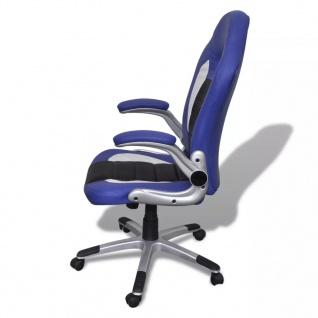 Bürosessel Bürostuhl Drehstuhl Chefsessel Kunstleder Office Blau - Vorschau 5