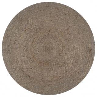 vidaXL Teppich Handgefertigt Jute Rund 120 cm Grau