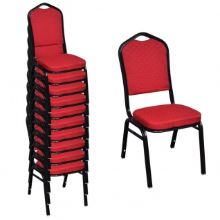 vidaXL Esszimmerstühle 10 Stk. Stoff Rot