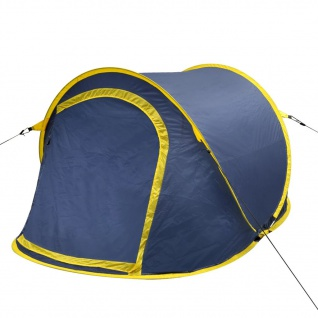vidaXL Pop-Up-Zelt für 2 Personen Marineblau/Gelb