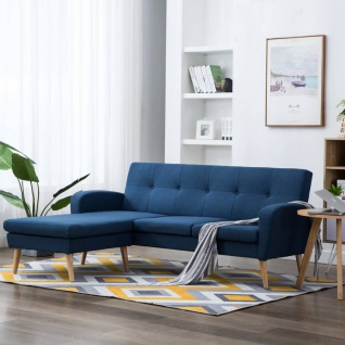 vidaXL Sofa in L-Form Stoffbezug 186 x 136 x 79 cm Blau