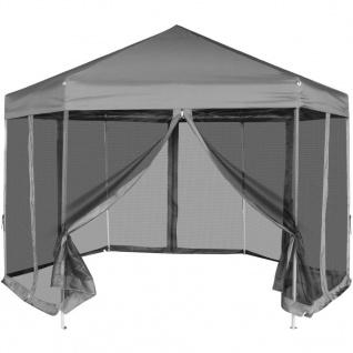 vidaXL Sechseckiges Pop-Up Festzelt mit 6 Seitenwänden Grau 3, 6x3, 1 m