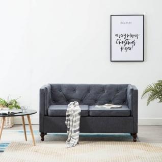 vidaXL Chesterfield-Sofa 2-Sitzer Stoffpolsterung Grau