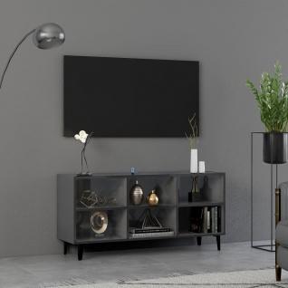vidaXL TV-Schrank mit Metallbeinen Hochglanz-Grau 103, 5x30x50 cm