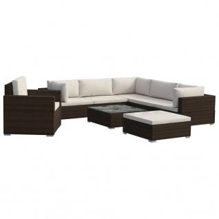 vidaXL 8-tlg. Garten-Lounge-Set mit Auflagen Poly Rattan Braun - Vorschau 2