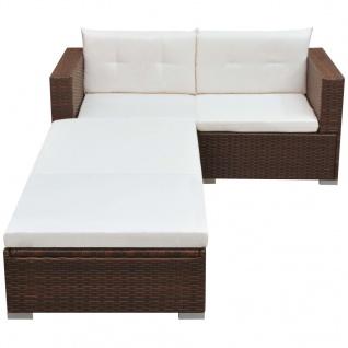vidaXL 3-tlg. Garten-Lounge-Set mit Auflagen Poly Rattan Braun - Vorschau 2