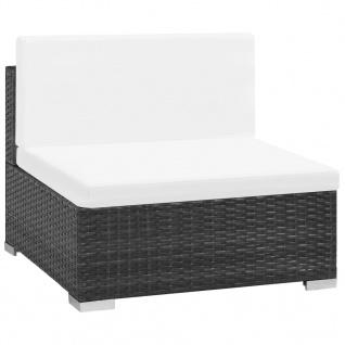 vidaXL 7-tlg. Garten-Lounge-Set mit Auflagen Poly Rattan Schwarz - Vorschau 3