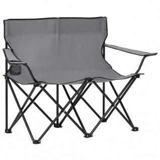 vidaXL Campingstuhl 2-Sitzer Klappbar Stahl und Stoff Grau