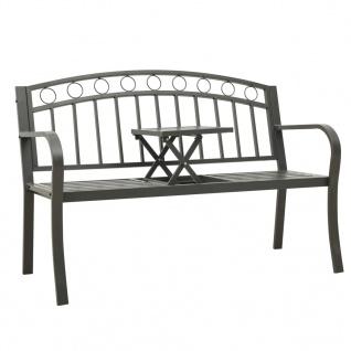 vidaXL Gartenbank mit 1 Tisch 125 cm Stahl Grau
