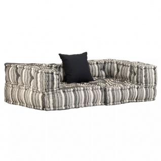vidaXL 2-Sitzer Modulares Sofa mit Armlehnen Stoff gestreift