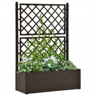 vidaXL Garten-Hochbeet mit Spalier und Selbstbewässerungssystem Mokka