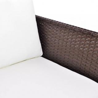 vidaXL 3-tlg. Garten-Lounge-Set mit Auflagen Poly Rattan Braun - Vorschau 5
