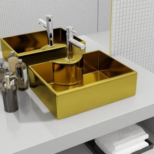 vidaXL Waschbecken mit Wasserhahnloch 48 x 37 x 13, 5 cm Keramik Golden
