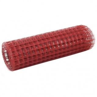 vidaXL Drahtzaun Stahl mit PVC-Beschichtung 25x0, 5 m Rot