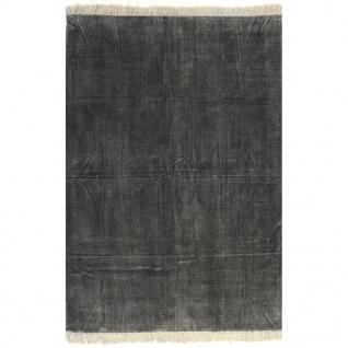 vidaXL Kelim-Teppich Baumwolle 120x180 cm Anthrazit