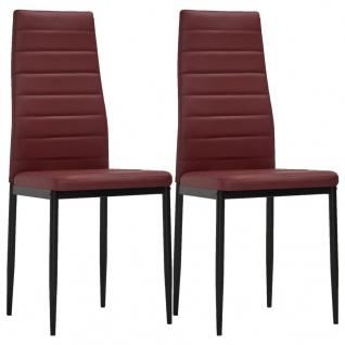 vidaXL Esszimmerstühle 2 Stk. Bordeauxrot Kunstleder