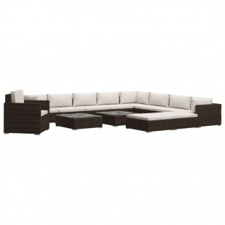 vidaXL 13-tlg. Garten-Lounge-Set mit Auflagen Poly Rattan Braun - Vorschau 2