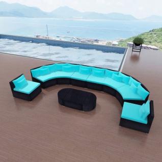 vidaXL 11-tlg. Garten-Lounge-Set mit Auflagen Poly Rattan Blau