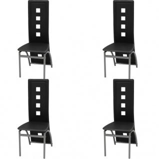 vidaXL Esszimmerstühle 4 Stk Kunstleder Schwarz