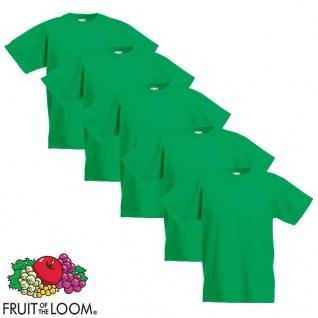 Fruit of the Loom Kinder-T-Shirt Original 5 Stk. Grün Größe 140