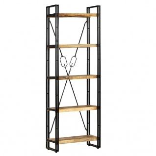 vidaXL Bücherregal mit 5 Ablagen Massivholz Mango & Stahl 60×30×180 cm