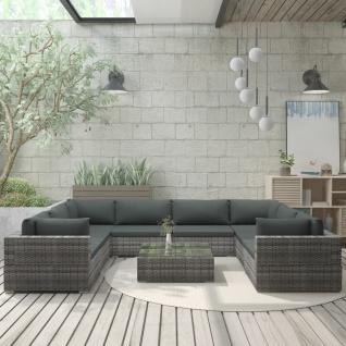 vidaXL 9-tlg. Garten-Lounge-Set mit Auflagen Poly Rattan Grau