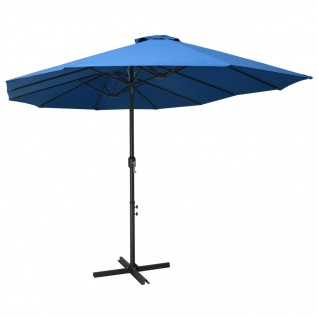 vidaXL Sonnenschirm mit Aluminium-Mast 460x270 cm Blau