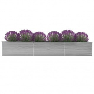 vidaXL Garten-Hochbeet Verzinkter Stahl 480x80x77 cm Grau
