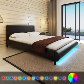 Kunstleder-Bett 140 x 200 cm mit LED-Streifen Schwarz + Memory Foam-Matratze