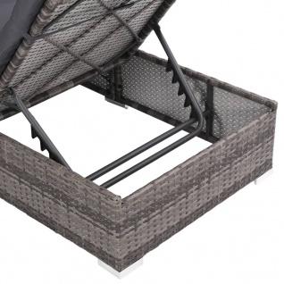 vidaXL 3-tlg. Garten-Lounge-Set mit Auflagen Poly Rattan Grau - Vorschau 5