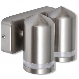 Edelstahl-Wandlampe LED unten mit Kegelkopf