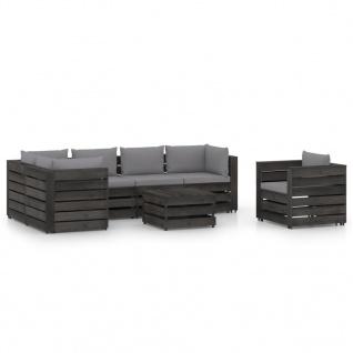 vidaXL 7-tlg. Garten-Lounge-Set mit Kissen Grau Imprägniertes Holz