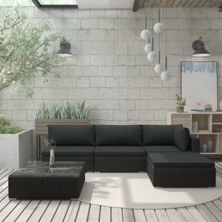 vidaXL 5-tlg. Garten-Lounge-Set mit Auflagen Poly Rattan Schwarz - Vorschau 1
