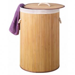 Perel Wäschekorb Rund Natur-Bambus HP100201