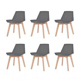 vidaXL Esszimmerstühle 6 Stk. Grau Kunststoffsitz Buchenholzbeine