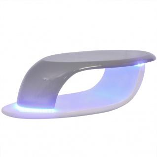 vidaXL Couchtisch mit LED-Leuchtstreifen Fiberglas Hochglanz Weiß und Grau