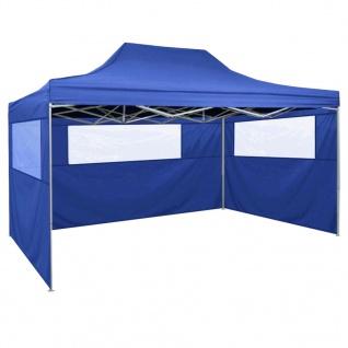 vidaXL Faltzelt mit 3 Wänden 3 x 4, 5 m Blau