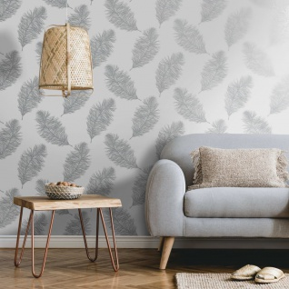 DUTCH WALLCOVERINGS Tapete Fawning Feather Hellgrau