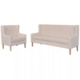 vidaXL Sofa-Set 2-tlg. Stoff Cremeweiß - Vorschau 1